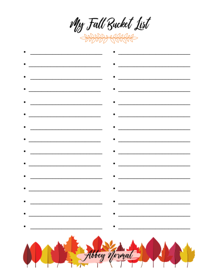 My Fall Bucket List